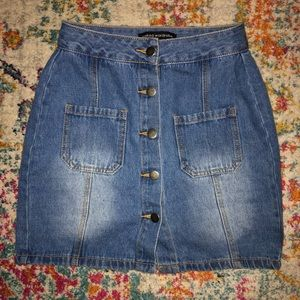 Naked Wardrobe | High-Waisted Jean Button-Up Skirt